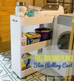 DIY Home Decor | Utilize that awkward space between the washer and dryer with these FREE PLANS for a slim rolling storage cart.