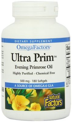 Evening Primrose oil is unique because it is one of the few oils that contains abundant amounts of Gamma Linolenic Acid, an omega-6 essential fatty acid, vital to health. These essential fatty acids are needed to form important prostaglandins, particularly PGE1, that maintain and regulate vital... more details at http://supplements.occupationalhealthandsafetyprofessionals.com/herbal-supplements/evening-primrose/product-review-for-natural-factors-omegafactors-ultra-prim-evenin