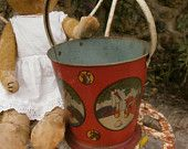 French Tole Toy Beach Bucket Shabby Chic Seaside