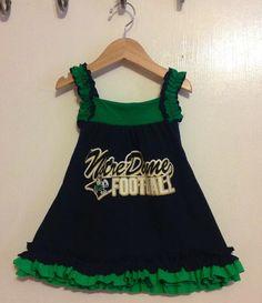 Notre Dame Football T-shirt ruffled dress - Irish Power, perfect for your little Irish fan, Fits Sz 12m - 3t on Etsy, $29.00