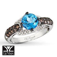 Le Vian Blue Topaz Ring 3/8 ct tw Diamonds 14K Vanilla Gold Gift from my wonderful hubby.