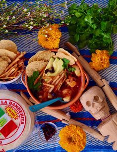 Sopa Azteca De Tortilla: My grandfather used to make this delicious Tortilla Aztec Soup anytime there was an abundance of potatoes in the house. I used to look forward to the gooey cheese, savory chile broth, and crisp tortilla strips. For Dia De Los Muertos, I've partnered with @OleMexicanFoods to share my grandpa's infamous Sopa Azteca De Tortilla! I used #TortillasLaBanderita to fry up perfectly crisp tortilla strips and La Banderita #DiaDeLosMuertos Totopos Clásica! #AD #OleMexicanFoods