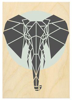 Art Print Geometric Elephant Print Contemporary by Stencilize