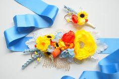 Blue yellow orange bridal flower sash, sunflowers, wheat, farm wedding, rustic wedding, grooms boutonniere