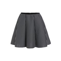 Black Vertical Striped Flare Skirt (20 AUD) ❤ liked on Polyvore featuring skirts, black skirt, vertical stripe skirt, skater skirt, black circle skirt and flared skirt