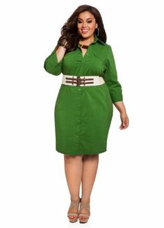 Green plus size dress