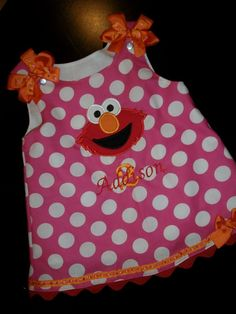 Elmo Jumper Dress bright pink dot embroidered with your child's name
