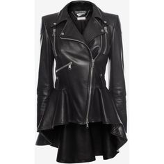 Alexander McQueen Leather Biker Jacket (6 425 AUD) ❤ liked on Polyvore featuring outerwear, jackets, black, peplum leather jacket, zipper jacket, motorcycle jacket, biker jackets and collared leather jacket