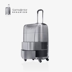 """Samsonite Organized - Anton Repponen - A concept design for Samsonite luggage. The actual luggage is split into departments that open in a """"drawer"""" manner to allow person to organize things separately from each other and access different departments quickly."""