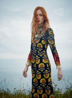 Dani Witt models Gucci jacquard dress and necklace