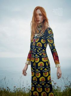 Model Dani Witt models Gucci jacquard dress and necklace