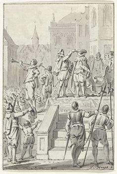 Jacobus Buys | De hertog van Anjou gehuldigd te Antwerpen, 1582, Jacobus Buys, 1780 - 1795 | Huldiging van Anjou te Antwerpen, 19 februari 1582. Op een podium krijgt hij de mantel en hoed van de hertog van Brabant. Ontwerp voor een prent.