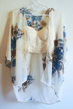 Handmade Kimono Cardigan Chic in Blue by moocraft on Etsy, $30.00