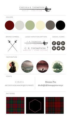 Brand board for fantasy author / novelist - Scottish, medieval theme, swords, tartan, nerd, Darth Vader, Assassin's Creed, black, gray, burgundy, red, cream, sage green.