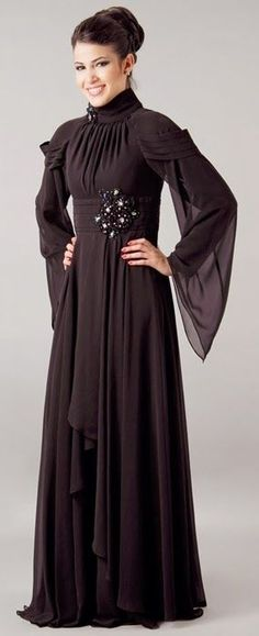 Impressive collection of abaya with flare designs  (7)
