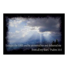 Psalms 34:4 on dark print from Scripture Classics #zazzle #gift #photogift #Christian