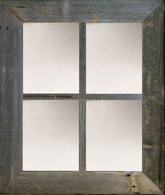 "3"" Large Rustic 4 Pane 23"" X 27"" Reclaimed Barnwood Window Mirror"