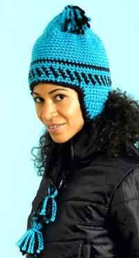 Stay warm and make a statement this winter with this easy crochet hat pattern. This crochet hat features comfortable earflaps, a decorative crown and fun tassel ties. Easy Crochet Hat Patterns, Crochet Adult Hat, Crochet Cap, Crochet Beanie, Crochet Scarves, Crochet Clothes, Free Crochet, Knitted Hats, Free Knitting