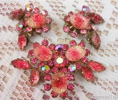 Vintage JUDY LEE Pink Art Glass Rhinestone Parure Brooch Earring Set 1950's