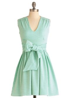 Green striped dress with wide bow belt. I'd love to create something similar with a circle skirt bottom! (via Modcloth) by effie