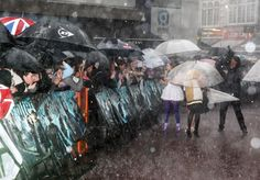 Harry Potter and the half blood prince -Some fans waited for up to 15 hours to see their idols; when the heavens opened, they huddled beneath umbrellas but stood firm.