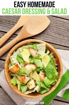 Create the Caesar salad we all love to order in restaurants at home with this simple and tasty recipe. One of the wonderful things about the Caesar Salad is that it's easy to make and add your own extra ingredients like chicken, shrimp or even steak.  #CaesarSalad #CaesarSaladRecipe
