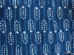 Thick Indian Cotton Border Fabric - Vegetable Indigo Dye Fabric - Block Print / Stamped Fabric Yardage