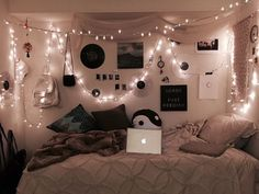 Dress up your dorm, apartment or bedroom with these majestic string lights! These string lights are 10 feet long and the ultimate bedroom lighting decoration you need! Dream Rooms, Dream Bedroom, Room Decor Bedroom, Bedroom Ideas, Cozy Teen Bedroom, Emo Bedroom, Grunge Bedroom, White Bedroom, Bedroom Inspo