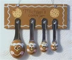 """~~ Row 1 Left- Hand painted Gingerbread man measuring spoon plaque that I did of """"Michaels Cookie Jar"""" Row Gingerbread Decorations, Country Christmas Decorations, Christmas Gingerbread, Tree Decorations, Christmas Crafts, Christmas Ornaments, Christmas Ideas, Xmas, Painted Spoons"""