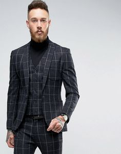 Asos Super Skinny Suit Jacket in Navy Check With Nep. Buy Navy Asos Suit  for men ...