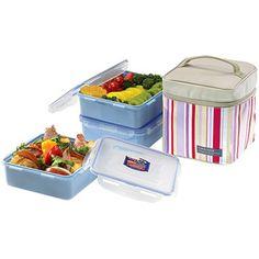Lock & Lock 7-Piece Medium Square Lunch Box Set with Leak-Proof Locking Containers