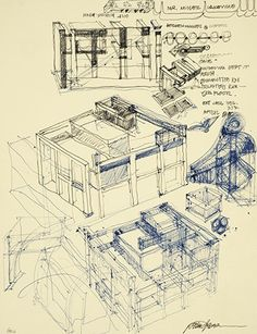 One of the 2,000 sketches that Eisenman produced for House II, which make up part of the Canadian Centre for Architecture archive.The project plays a double game of signification and structure by including both columnar and wall systems of support, either of which could be superfluous or necessary