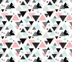 Geometric triangle aztec illustration hand drawn pattern mint and pink  fabric design by Little Smilemakers Studio // Maaike Boot - Home decor textile inspiration, fashion and wallpaper