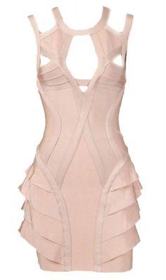 Clothing/Dresses/Bandage Bodycon Dress/Vegas Ruffle Cut Out Dress Inspired by Kim Kardashian's Batchelorette Herve Leger Dress