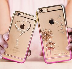 Dandelion Loving Heart Luxury Crystal Diamond Bling Rhinestone Case for iphone 6/6S plus 5 5S For Girls