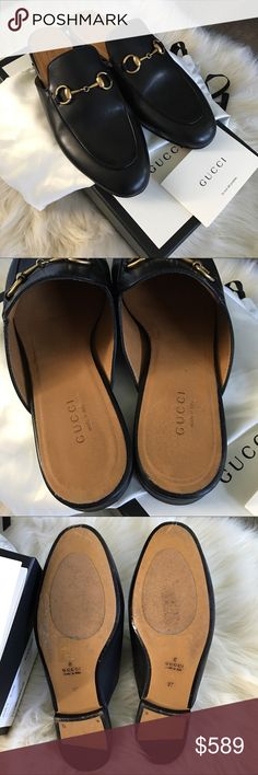 Gucci Princetown Slipper Excellent condition.  Worn only a few times. A few little marks here and there.  I did put no slip grips on the soles but those peel right off.  Includes original box, packaging, dustbags.  I purchased these from Gucci's online store, and these are $689 with tax new.  No trades. Gucci Shoes Flats & Loafers