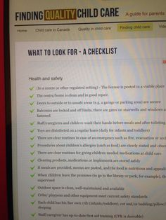 Checklist What to Look: Finding Quality Childcare