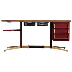 Superb Gio Ponti desk. Rima, Italy, 1955. Brass-plated and enameled steel, laminate and brass. I'll bet Gianni Agnelli had one of these. Onassis, too.