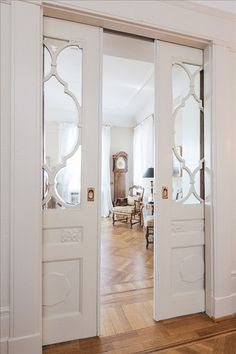 LOVE these doors.always have loved pocket doors from the moment I realized the doors into my g-ma's parlor (victorian home) had huge pocket doors. Style At Home, The Doors, Entrance Doors, Half Doors, Door Entry, Windows And Doors, My New Room, Home Fashion, Pet Fashion