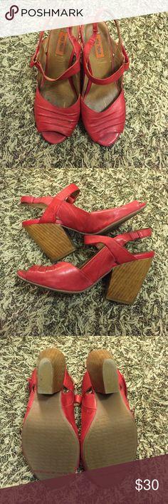 "Miz Mooz 'Mamba' size 7 Red Miz Mooz Red 'Mamba' style heals. Used. Good condition. Heel measures approximately 3"". Red. Miz Mooz Shoes Heels"