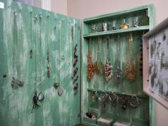 How to Create a Budget-Friendly Jewelry Organzier | HGTV Diy Jewelry Cabinet, Diy Jewelry Hanger, Jewelry Organization, Building A Door, Build A Wall, Perforated Metal, Decorative Knobs, Create A Budget, Rustic White