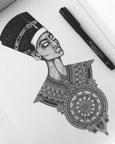 #Royalty like a boss. Queen Nefertiti piece for Pavitra // #murderandrose #QueenNefertiti #Tattoo #Stippling #mandala // SnapChat: @AsmahanM