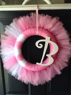 "Pink Tulle Wreath (10"") on Etsy, $24.95"