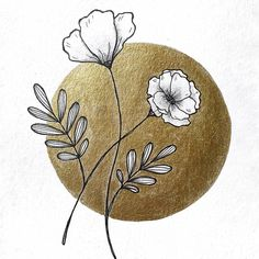 Floral painting with gold ink ♡ Ink Painting, Watercolor Paintings, Floral Drawing, Gold Ink, White Ink, Watercolor And Ink, Watercolors, My Drawings, Shadows