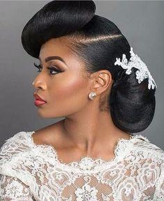 Black Wedding Hairstyles 2016 White - 37 & do& wedding hairdos Natural Wedding Hairstyles, Natural Hair Updo, Natural Hair Styles, Natural Makeup, Bridesmaid Hairstyles, African Natural Hairstyles, African American Hairstyles, Braided Hairstyles, Permed Hairstyles