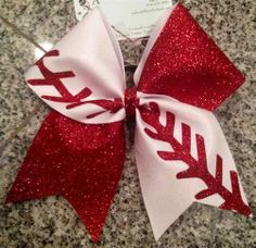 White Mystique with Red Glitter Baseball Fan Cheer Bow - Bows by April