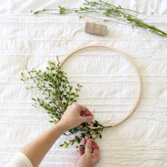 DIY Embroidery Hoop Wreath Project - Cotton Stem
