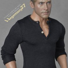 1/6th scale black long sleeve henley shirt inspired by Stallone Cobra for regular collectible action figure bodies and male fashion dolls