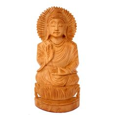 "(SKU NO:Buddha Statue_178a)Hand Carved Wooden Meditating Lord Buddha Statue, Krishna Mart India.Size: 6.00"" x 2.24"" inches."