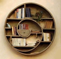 Awesome spiral book shelf.